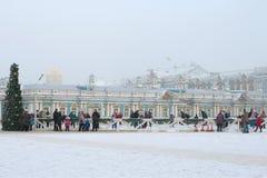 冬天凯瑟琳宫殿的滑冰场每有薄雾的冬日 Tsarskoye Selo 免版税库存图片