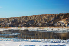 冬天初期的结冰的河  免版税库存照片