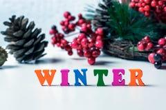 冬天到来的概念  地板标示用在一张白色桌上的色的信件,在锥体和f背景  免版税库存图片