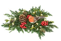 冬天和圣诞节装饰 免版税库存照片