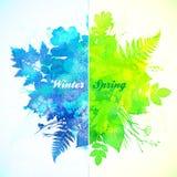 冬天和春季水彩例证 免版税库存照片