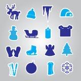 冬天和xmas象贴纸eps10 库存图片