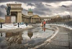 冬天喀山大教堂 免版税库存图片