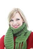 冬天围巾的微笑的少妇 免版税库存图片