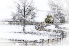 冬天国家暴风雪-马农场 库存照片