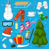 冬天圣诞节标志导航象炫耀和假日室外冬天雪、冰、雪人、新年树和圣诞老人 库存图片