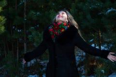 冬天圣诞节照片写真的美丽的女孩在公园 库存照片
