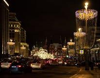 冬天圣诞节节日在莫斯科 俄国 库存照片