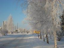 冬天在一个小俄国镇 库存照片