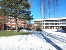 冬天在丹麦海宁,丹麦 免版税库存图片