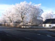 冬天在丹麦海宁,丹麦 免版税库存照片