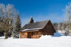 冬天在克尔科诺谢山,Czechia 图库摄影
