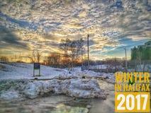 冬天在哈利法克斯,加拿大2017年 免版税库存照片