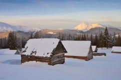 冬天在山村 库存照片