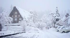 冬天在岐阜,日本白川町去村庄 免版税图库摄影