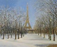冬天在巴黎 向量例证