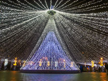 冬天在布加勒斯特,圣诞节事件准备 免版税库存图片