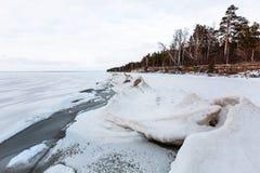 冬天在河的冰风景 鄂毕河,西伯利亚 免版税图库摄影