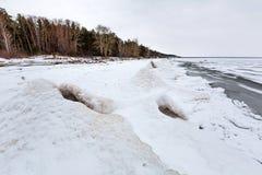 冬天在河的冰风景 鄂毕河,西伯利亚 库存照片