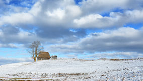 冬天在特兰西瓦尼亚罗马尼亚 免版税库存图片