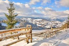 冬天在特兰西瓦尼亚罗马尼亚 库存图片