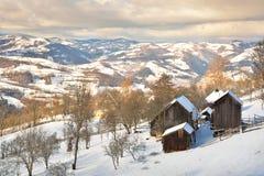 冬天在特兰西瓦尼亚罗马尼亚 图库摄影