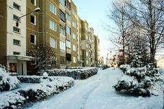 冬天在立陶宛维尔纽斯市Pasilaiciai区的首都 免版税库存图片