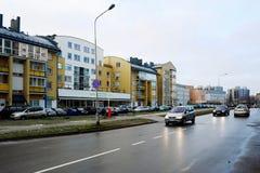 冬天在立陶宛维尔纽斯市Pasilaiciai区的首都 库存照片
