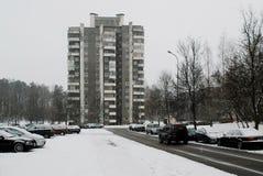 冬天在立陶宛维尔纽斯市Seskine区的首都 图库摄影