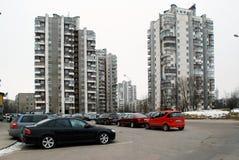 冬天在立陶宛维尔纽斯市Seskine区的首都 免版税图库摄影