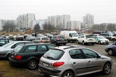 冬天在立陶宛维尔纽斯市Seskine区的首都 免版税库存图片