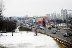 冬天在立陶宛维尔纽斯从Seskine区的市视图的首都 图库摄影