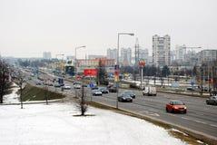 冬天在立陶宛维尔纽斯从Seskine区的市视图的首都 库存图片