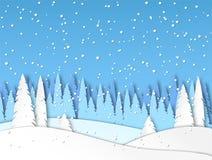 冬天在纸被削减的样式的雪风景 森林,随风飘飞的雪,下雪 向量 皇族释放例证
