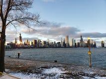 冬天在芝加哥 免版税图库摄影