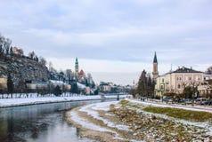 冬天在萨尔茨堡 免版税库存照片