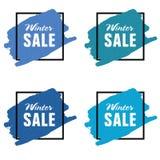 冬天在蓝色彩色组例证的销售象 免版税库存照片
