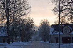 冬天在里加附近的街道场面 库存图片