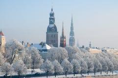 冬天在里加,拉脱维亚 库存照片