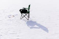 冬天在冻湖的渔夹具 免版税图库摄影