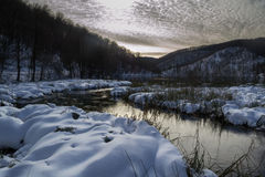 冬天在Plitvice 免版税库存照片