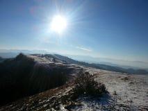 冬天在Viseul de乔斯, Maramures,罗马尼亚 免版税库存照片