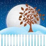 冬天场面、白色雪和蓝天传染媒介  图库摄影
