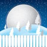 冬天场面、白色雪和蓝天传染媒介  库存照片