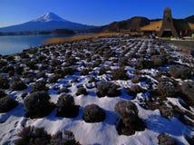 冬天场面富士山从河口湖日本的 免版税库存图片