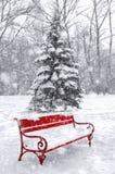 冬天场面,背景 黑白与红色元素 免版税库存照片