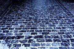 冬天块石头路 库存图片