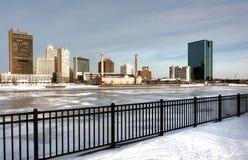 冬天城市地平线 免版税库存图片