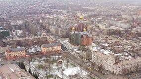 冬天城市的鸟瞰图 影视素材