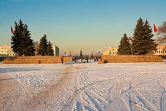 冬天城市风景有在火星圣彼德堡俄罗斯的领域的一个看法 图库摄影